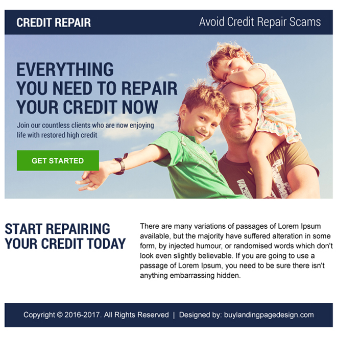 credit repair ppv landing page design Credit Repair example