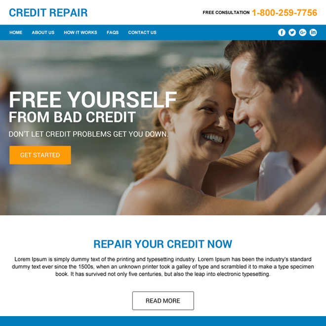 credit repair responsive html website design Credit Repair example