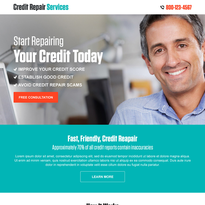 credit repair free consultation call to action landing page design Credit Repair example