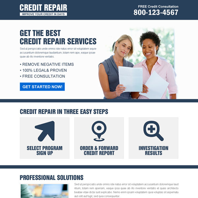 most appealing and converting credit repair landing page design to boost your business Credit Repair example