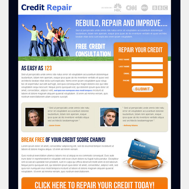 credit repair small lead capture landing page Credit Repair example