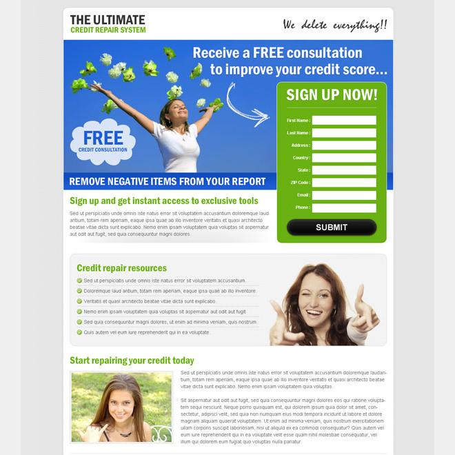 the ultimate credit repair system powerful credit repair landing page design Credit Repair example