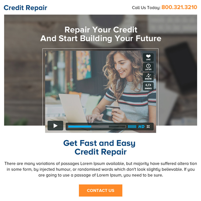 credit repair video ppv landing page design Credit Repair example