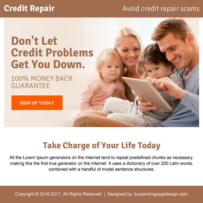 credit repair problems ppv landing page design Credit Repair example