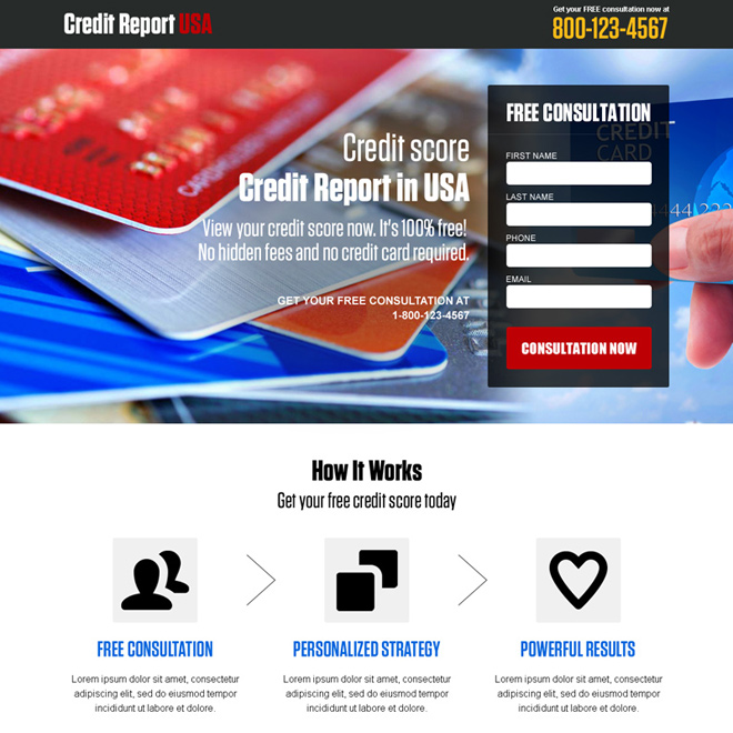 credit report free consultation usa landing page design Credit Report example