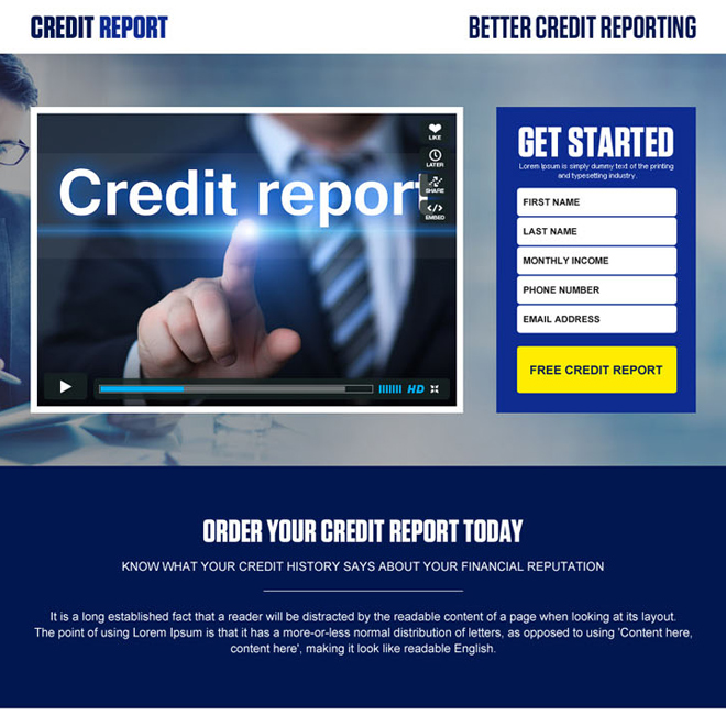 credit report lead generation video landing page design template Credit Report example
