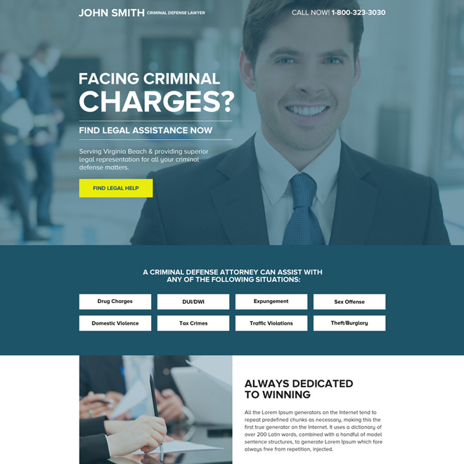 criminal defence lawyer mini landing page design Attorney and Law example