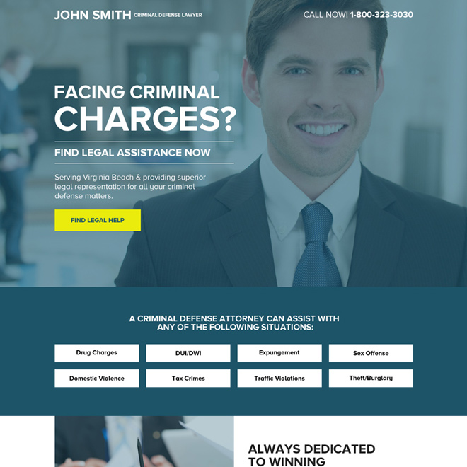 criminal defense lawyer responsive lead generating landing page Attorney and Law example