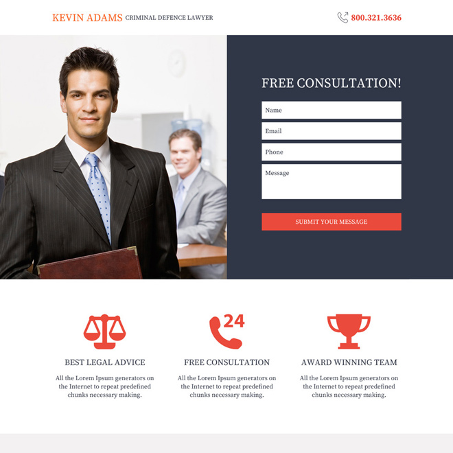 criminal defence lawyer responsive landing page design Attorney and Law example