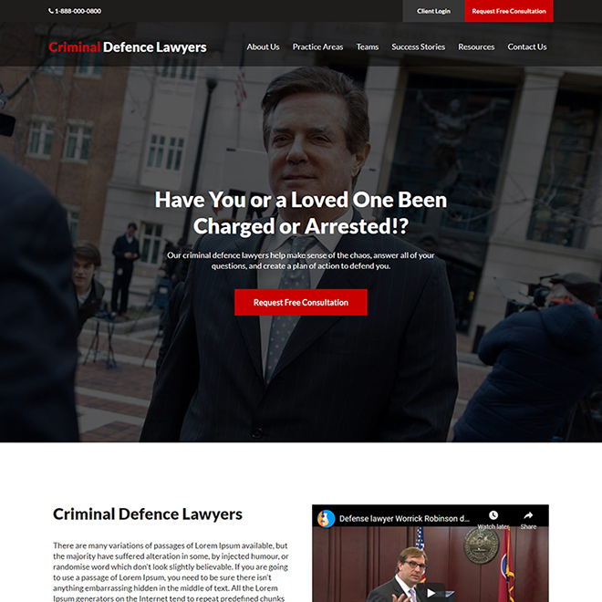 criminal defence lawyer responsive website design Attorney and Law example