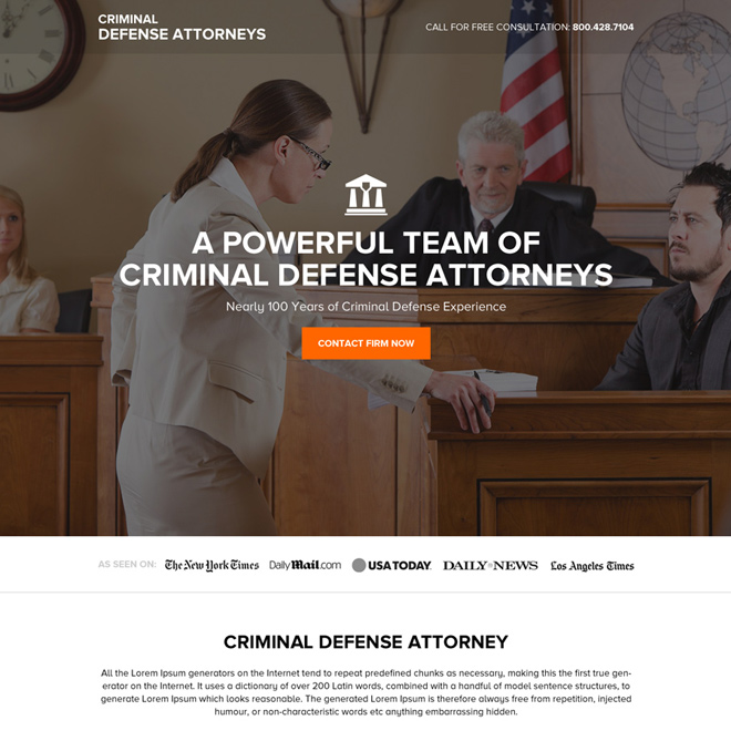 criminal defense attorney free consultation lead capturing landing page Attorney and Law example