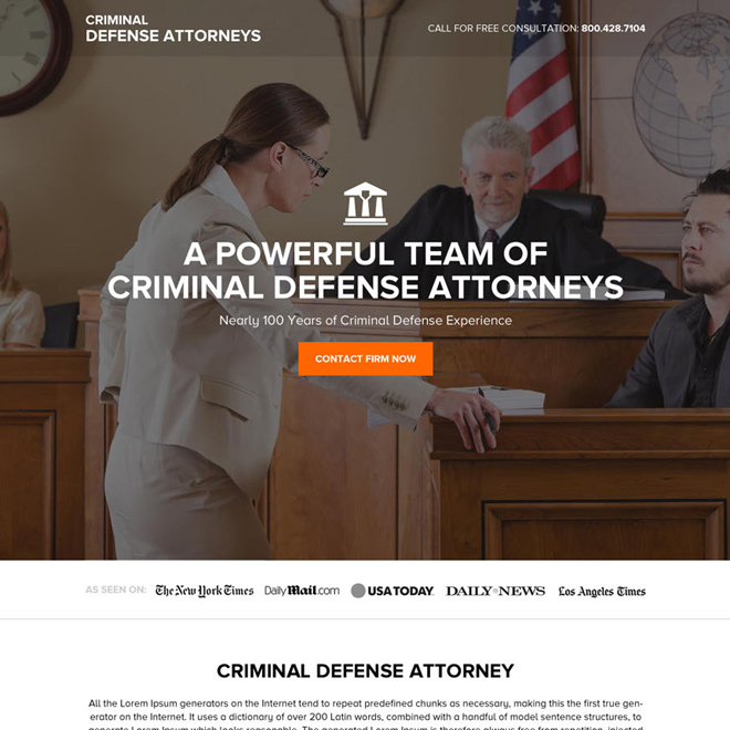 criminal defence attorney firm responsive landing page Attorney and Law example