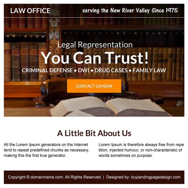 criminal defense lawyer free consultation ppv landing page design Attorney and Law example