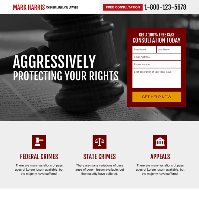 criminal defense lawyer responsive landing page design Attorney and Law example