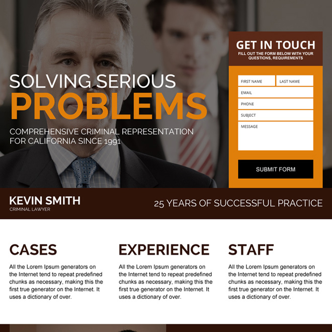 criminal lawyer converting landing page design Attorney and Law example