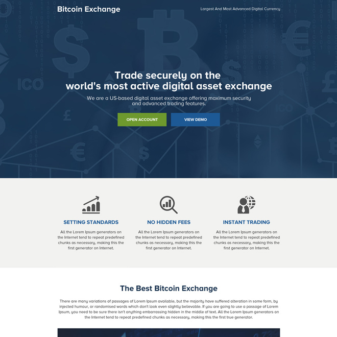 cryptocurrency bitcoin mini landing page design Cryptocurrency example