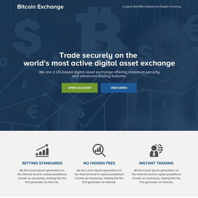 cryptocurrency bitcoin mini responsive landing page Cryptocurrency example