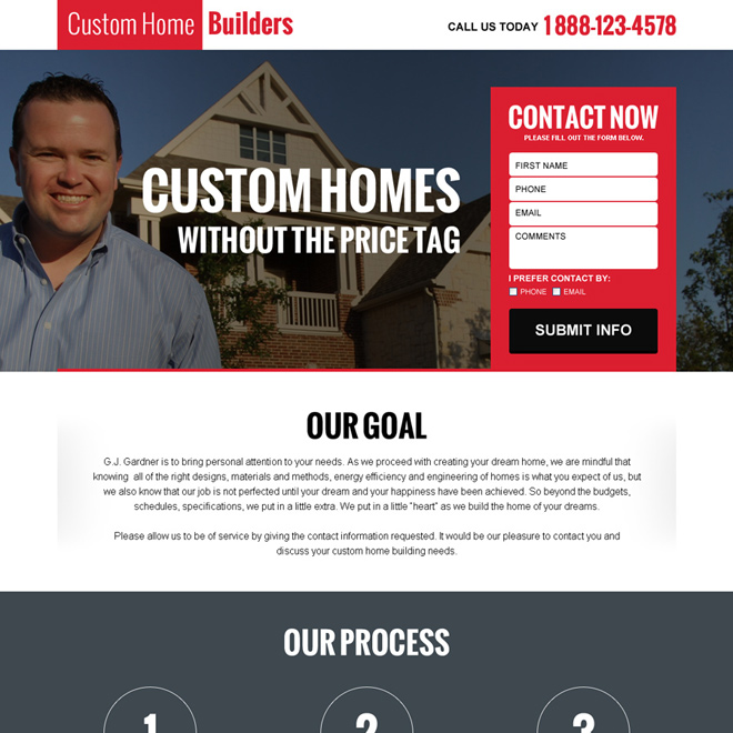 custom home builders landing page design Real Estate example