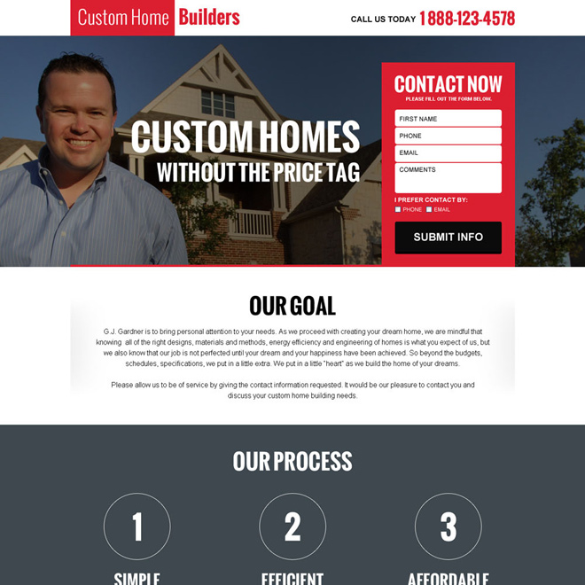 custom home builders responsive landing page design Real Estate example