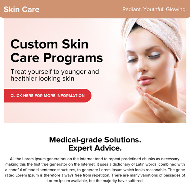 skin care medical solution ppv landing page design Skin Care example