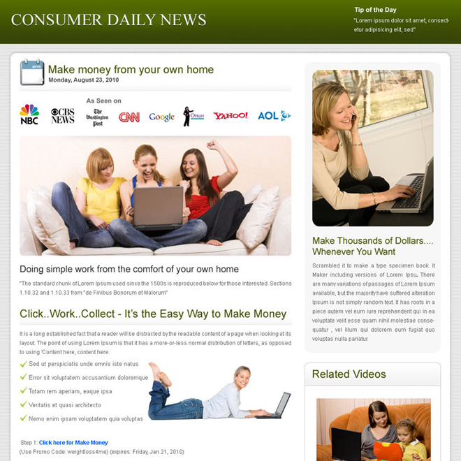 consumer daily news clean and effective landing page design template Flogs example