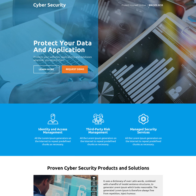 cyber security product and services responsive landing page design Security example