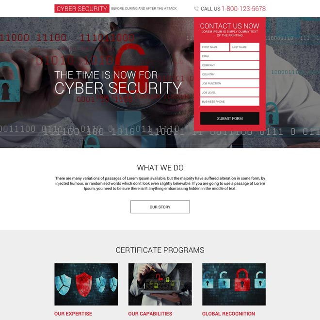 cyber security service lead generating landing page Security example
