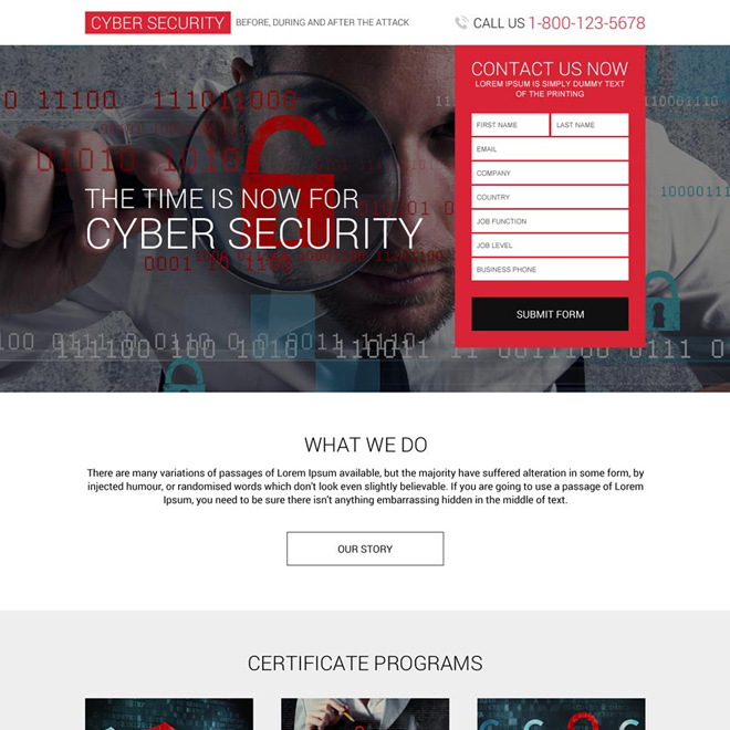 responsive cyber security services lead capturing landing page Security example