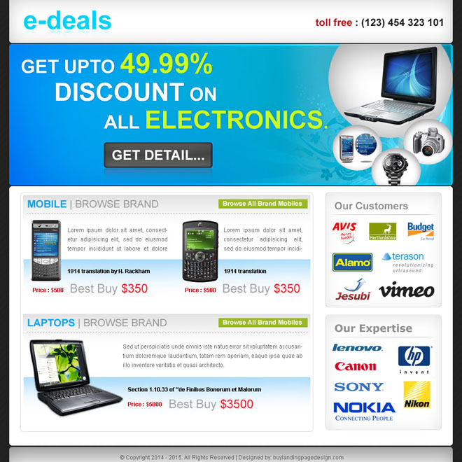 e-deals clean and effective landing page design for sale Electronics example