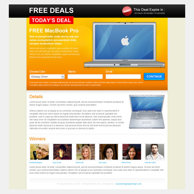 free deals lead capture lander design Landing Page Design example