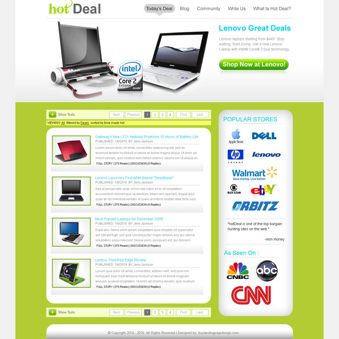 daily hot deal clean landing page design for sale Landing Page Design example