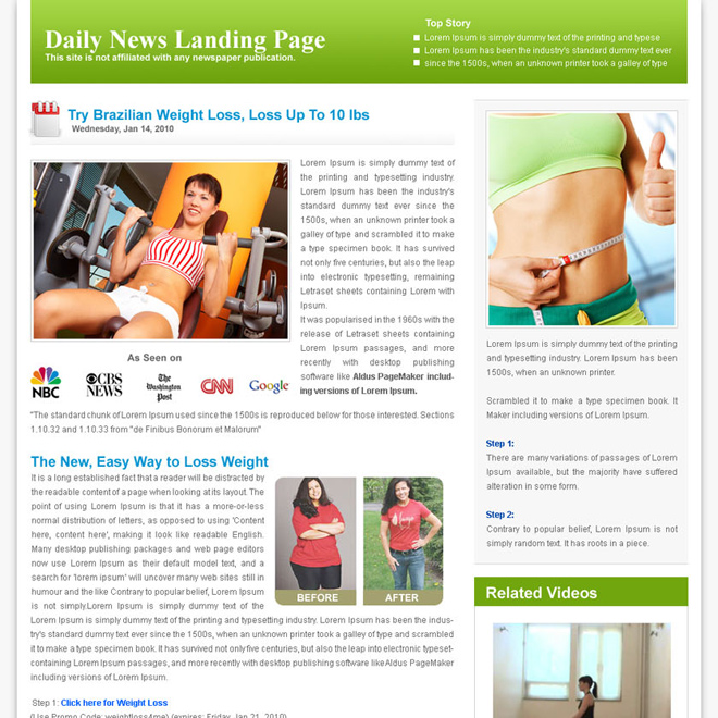 daily news clean landing page design Flogs example