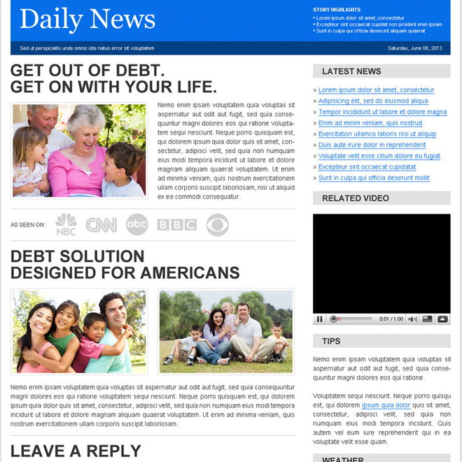 debt solution designed for american daily news lander design Flogs example