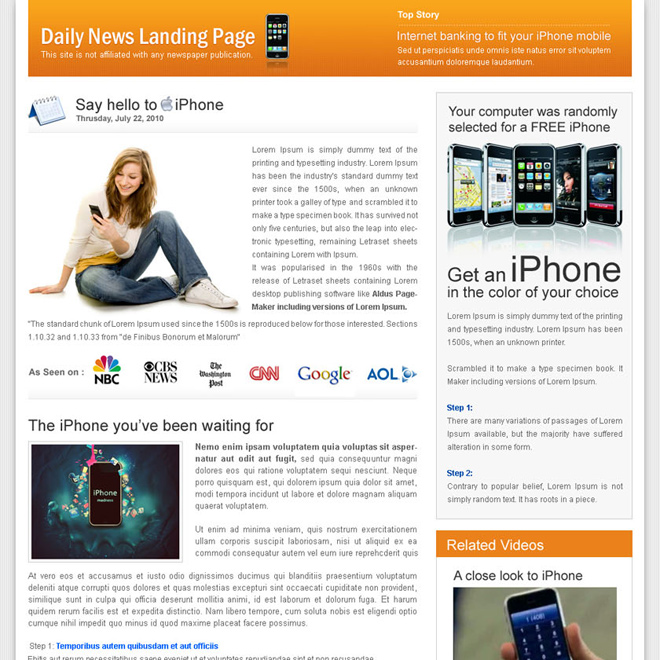 Daily Viral News Home: Flog, Daily News And Magazine Style Landing Page Designs