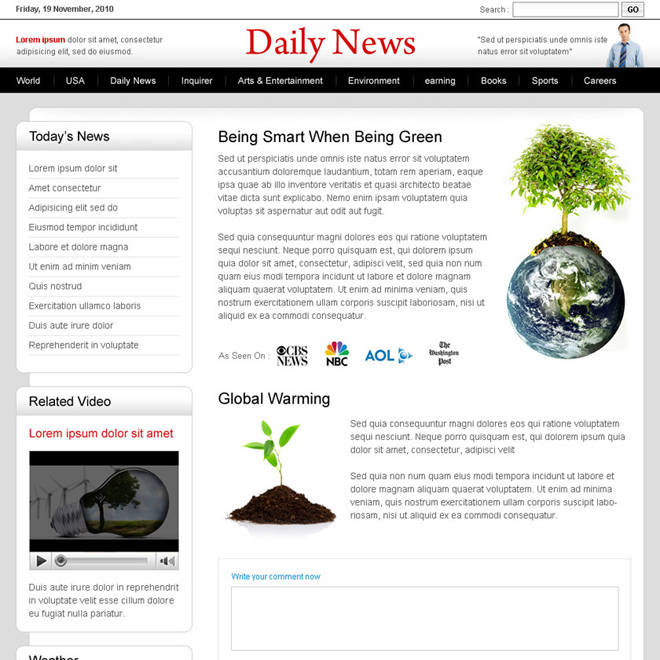 clean and effective daily news lander design Flogs example