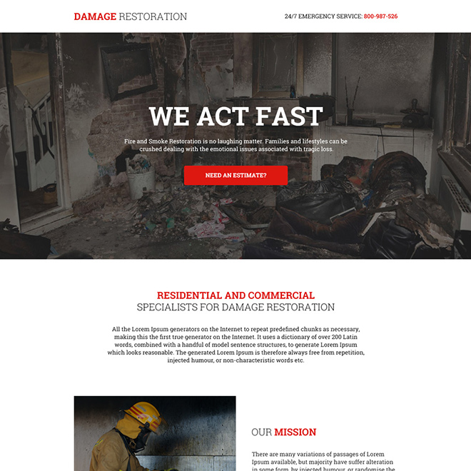 fire and smoke damage restoration responsive landing page Damage Restoration example