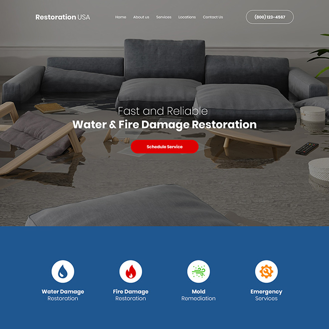 water and fire damage restoration company website design Damage Restoration example
