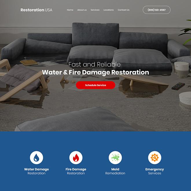 water and fire damage restoration company website design Damage Restoration example