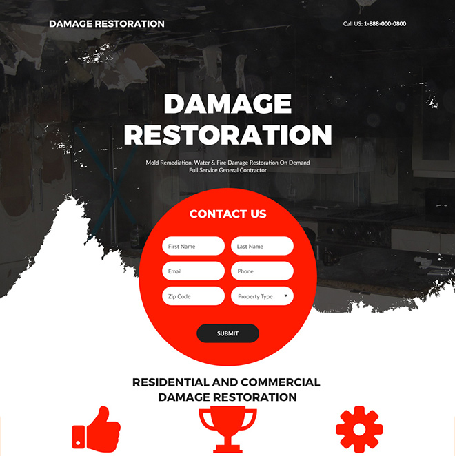 property restoration and repair experts landing page Damage Restoration example