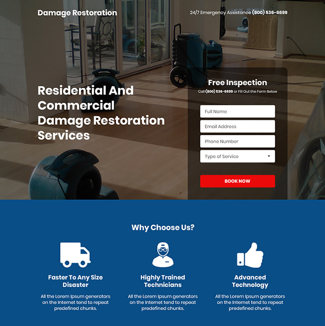 residential and commercial damage restoration services responsive landing page Damage Restoration example