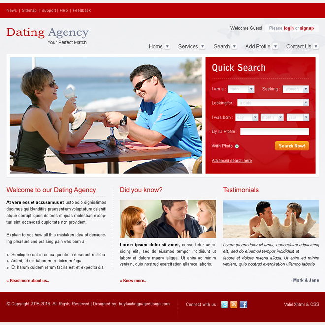 dating agency attractive and appealing website template design psd for sale Website Template PSD example