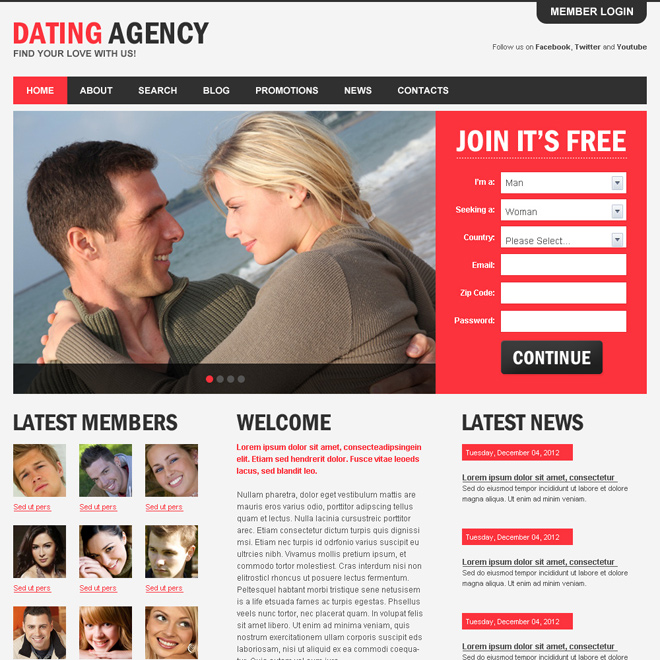 appealing dating agency html website template to capture positive leads Dating example
