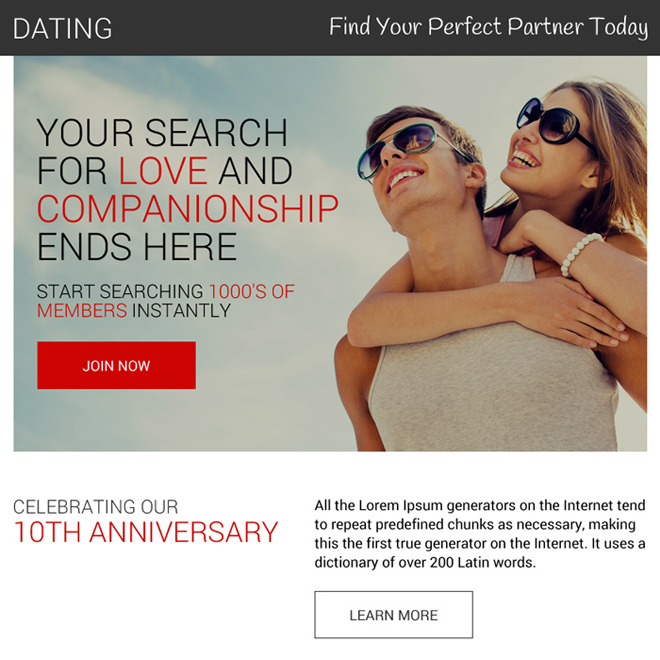 appealing dating call to action ppv landing page design Dating example