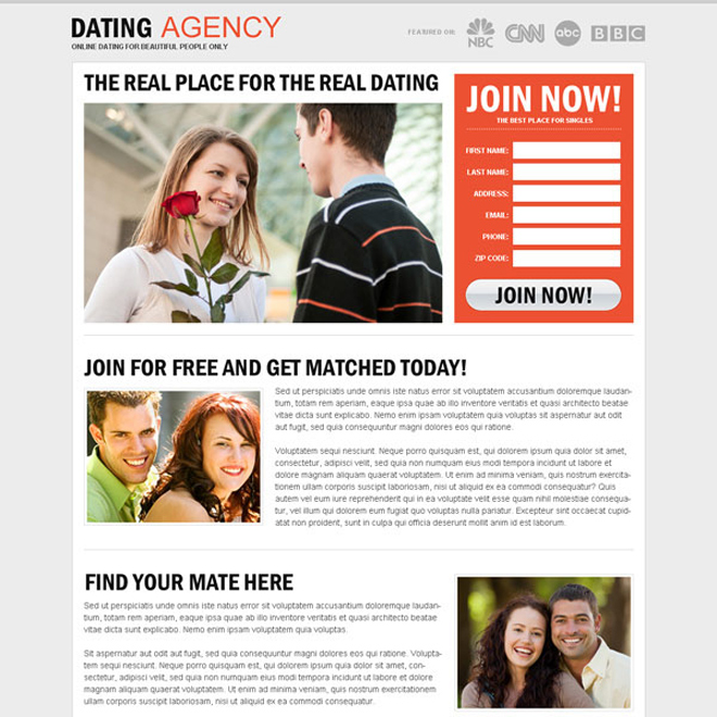 clean and minimal dating agency lead generating landing page design Dating example
