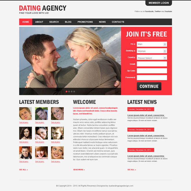 dating agency appealing and attractive website template psd design Website Template PSD example