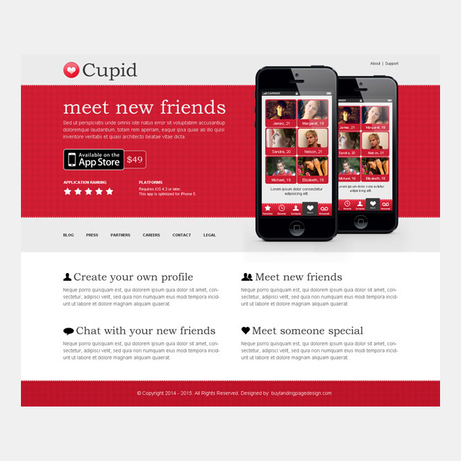 dating call to action app landing page design App Landing Page example