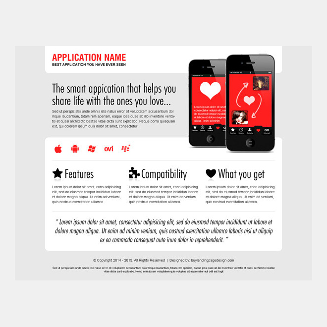 best dating application landing page design Web Application example