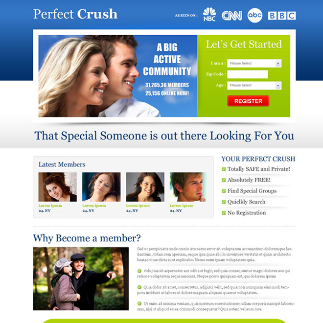 most converting perfect crush dating landing page design template Dating example