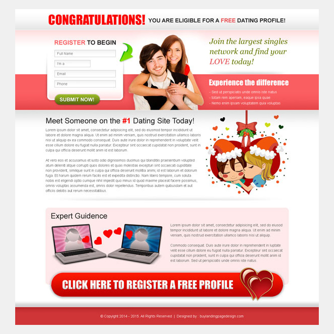 Conversion optimized dating responsive landing page design