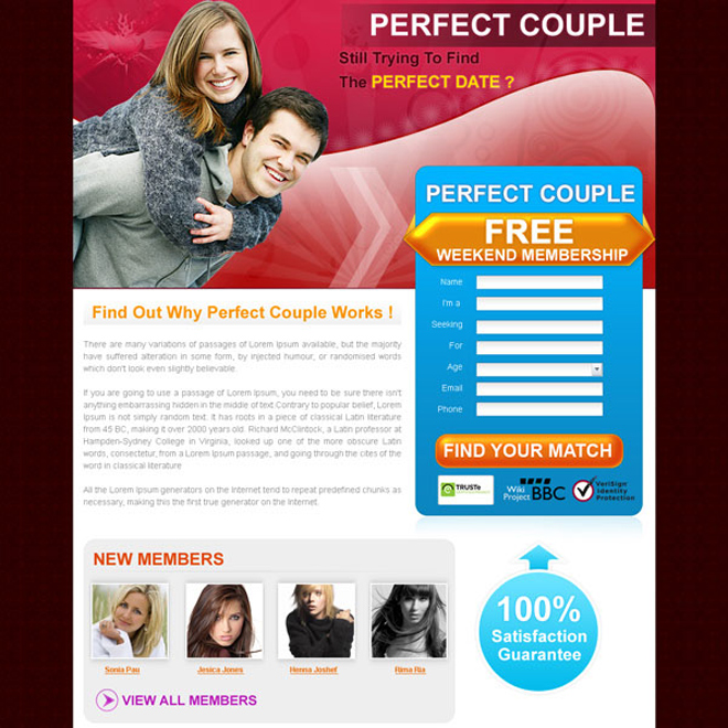 dating membership lead capture landing page design for sale Landing Page Design example